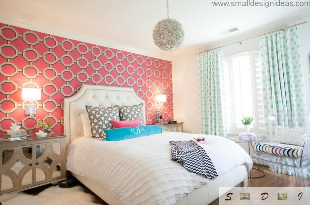 Zoning instruments in the teen girl bedroom are wall painting, headboard in the bedroom, contrasting floor etc.