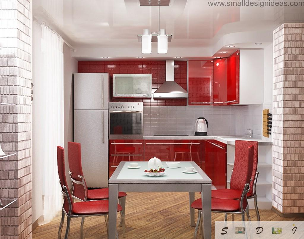 Red decpration idea for modern loft kitchen and dining