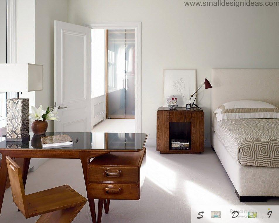 White strict mens bedroom with the workplace for business or study
