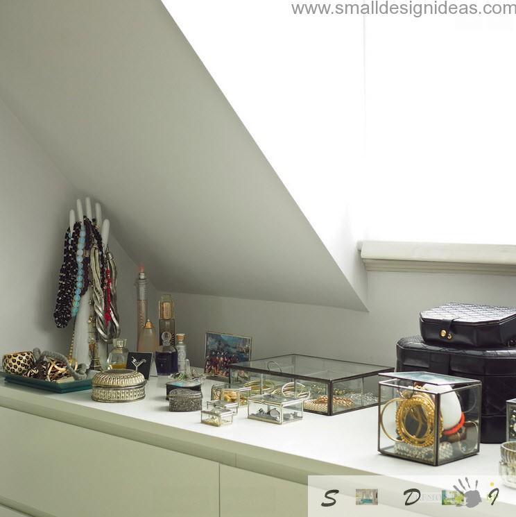Dutch apartment interior design review. Bedroom table with personal stuff