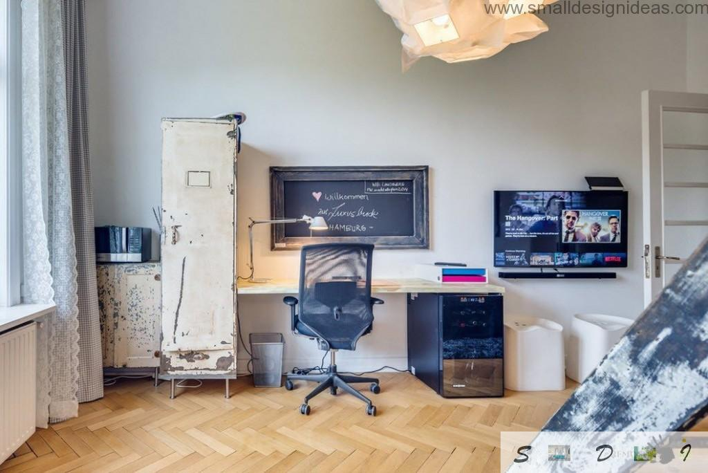 Study room loft style on German apartments looks austere