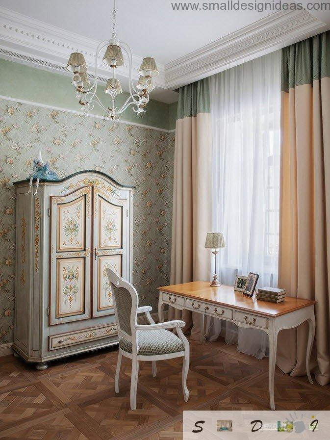 Girl`s bedroom in the classic style with cabinet and a table