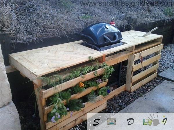 Nice wooden stand for barbeque made of industrial pallets