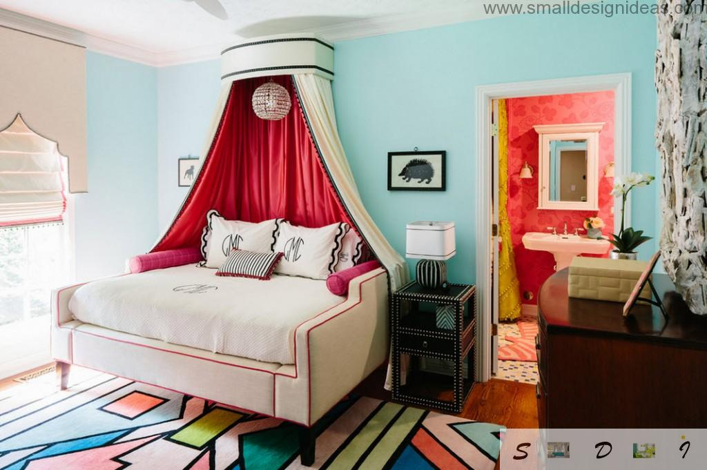 Bright interior in girl`s bedroom