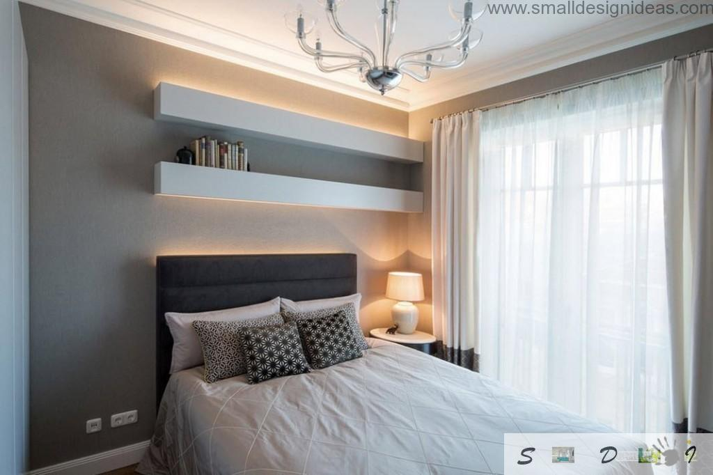 Warm temperature tones in the decorating of the modern minimalistic bedroom