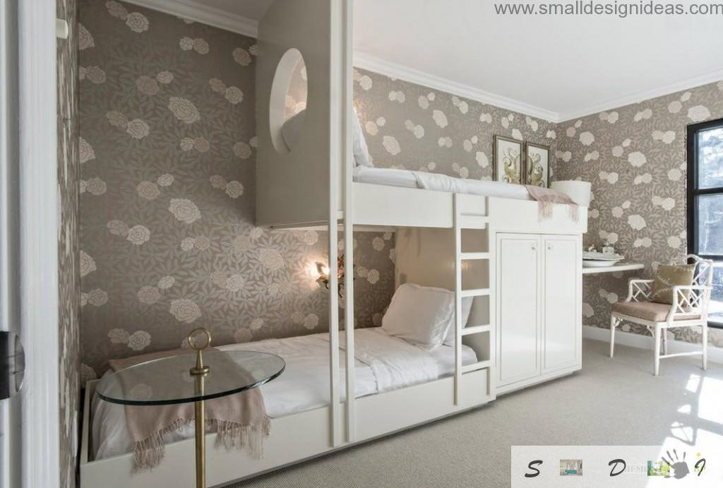 Children`s bedroom with dark brown wallpaper and white complex of white two-level beds