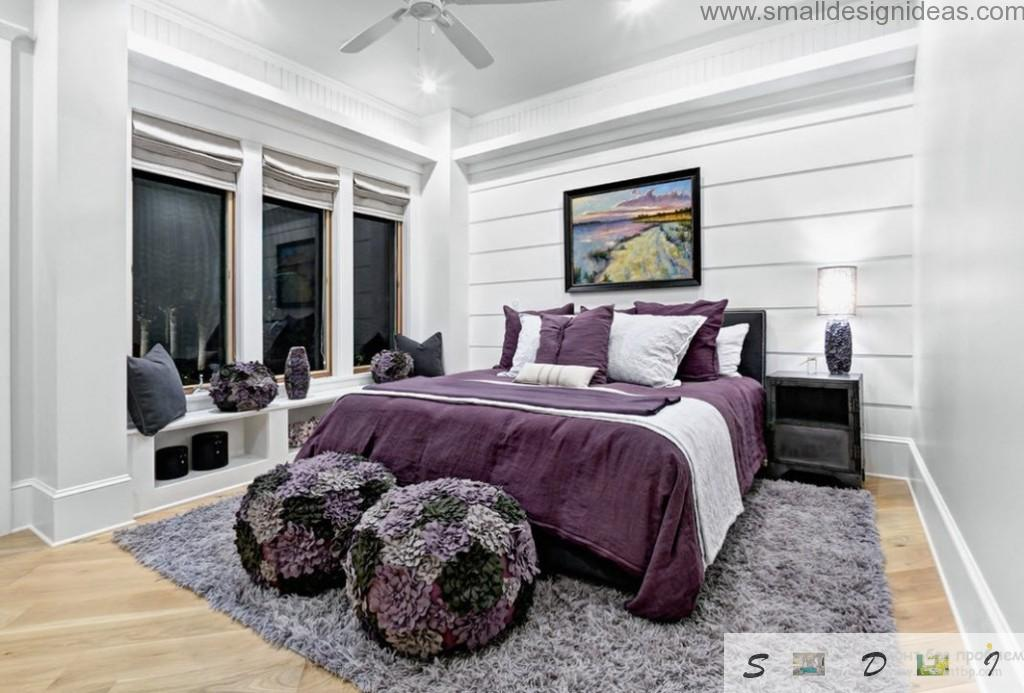 Purple Color Bedroom Ideas with carpeting in the bedroom design