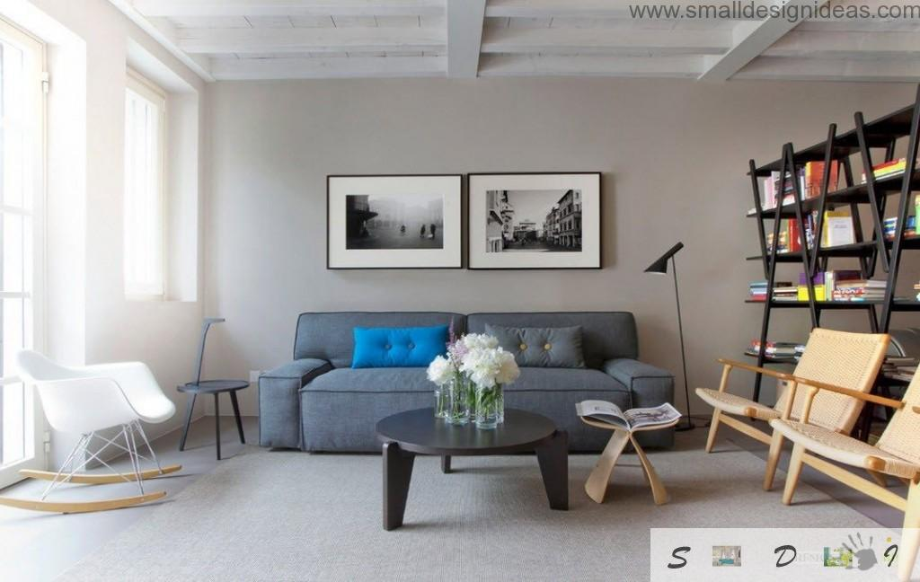 Nice sofa from IKEA in the modern gray interior of the room