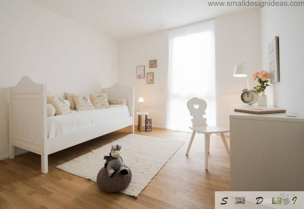 Nice creamy children`s room with IKEA furniture