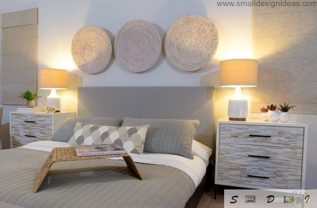 Alternative method to decorate the bedroom with textile round rolld above the headboard