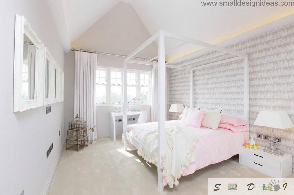 wooden skeleton in the creamy pink girlish bedroom with stripes in the accent wall