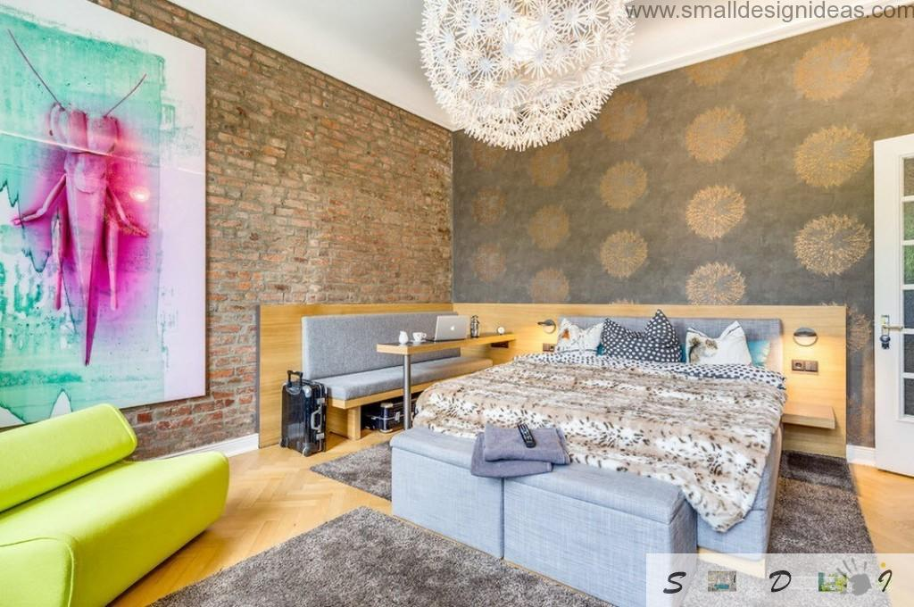 Main bedroom design in the loft apartment in Germany can`t be boring with so bright color palette