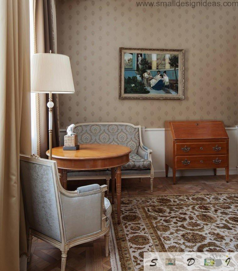 Workplace or chatting place in the main bedroom of classic decorating house