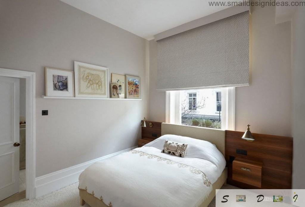 Scandinavian furniture style from IKEA arranges the low-key bedroom interior with Venetian blinds