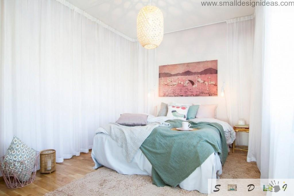 Tulle curtains, wooden floor and picture to decorate modern bedrooms