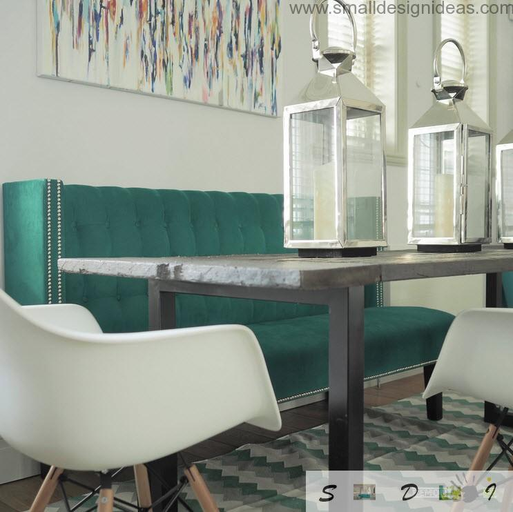 Dutch apartment interior design review. Another foreshortening of the decorated table in the dining zone in the Dutch apartment living room