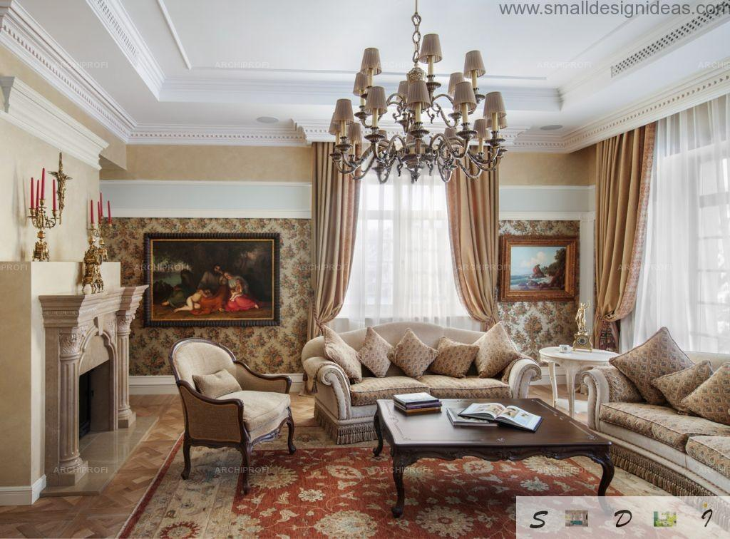 Luxurious and high quality materials trimmed living room in the private house with classic interior