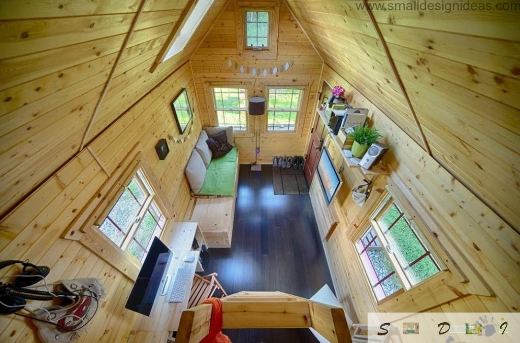 Top view of the small mobile wooden house interior