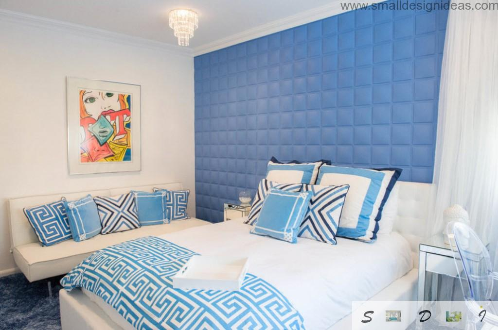 Blue color and soft wall in the bedroom interior