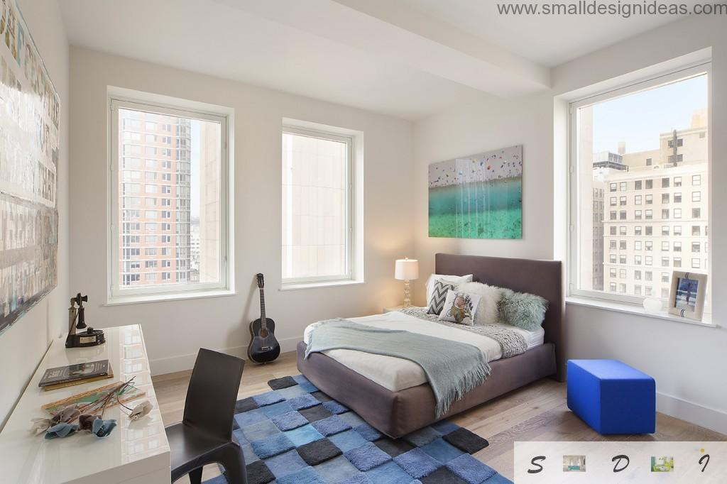 White bedroom with stylish modern youngster design and IKEA furniture