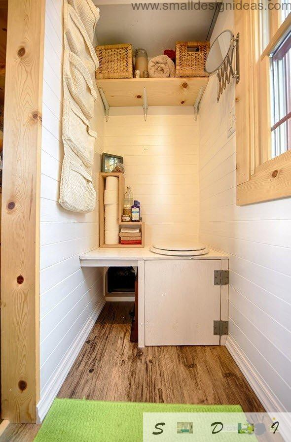 Toilet in the portable wooden home