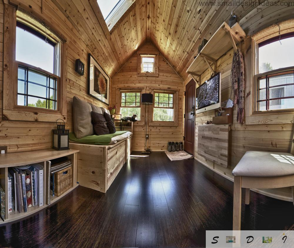 photo of the interior design of the small mobile wooden tack house