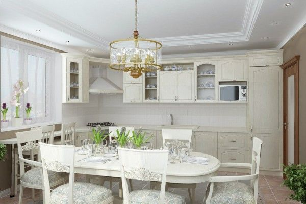 Nice white design in the private house modern kitchen in classic style