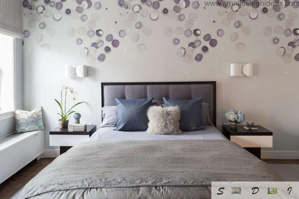 Bedroom Wall Decoration Ideas. Nice white ambience of the modern bedroom decorated with purple shells on the walls