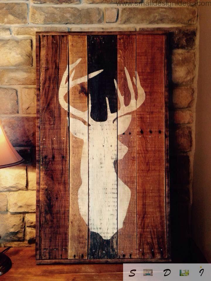 Indoor Outdoor Universal Pallet Furniture Ideas. Picture of the deer on the wooden pallet panel