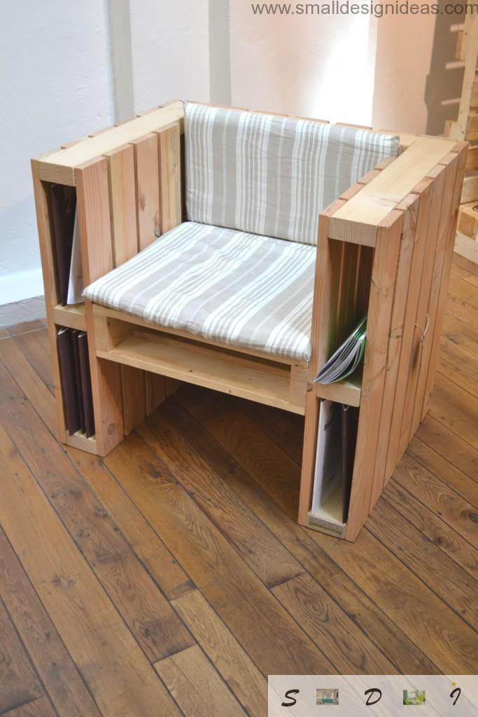 Armchair with open storage cell for magazines or books