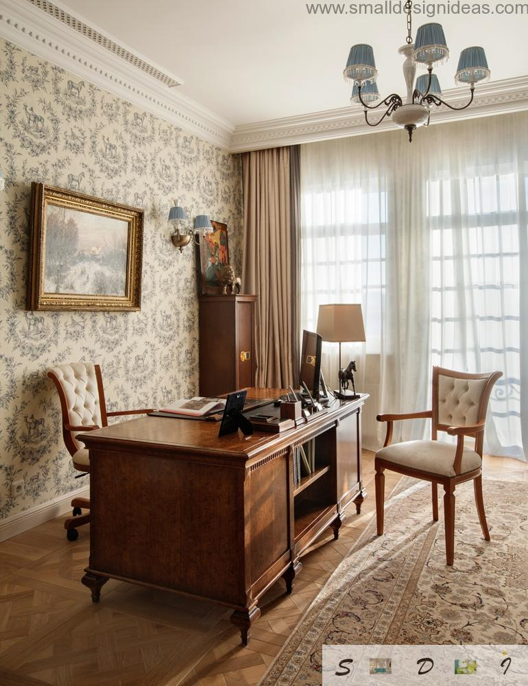 Wooden furniture with soft upholstered chairs and printed wallpaper make the classic interior of the house exclusive