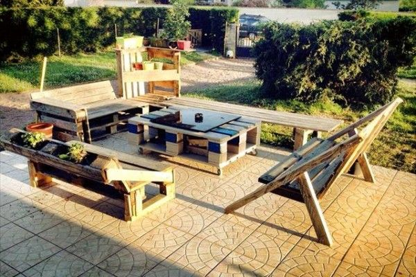 Outdoor furniture set from wooden pallets