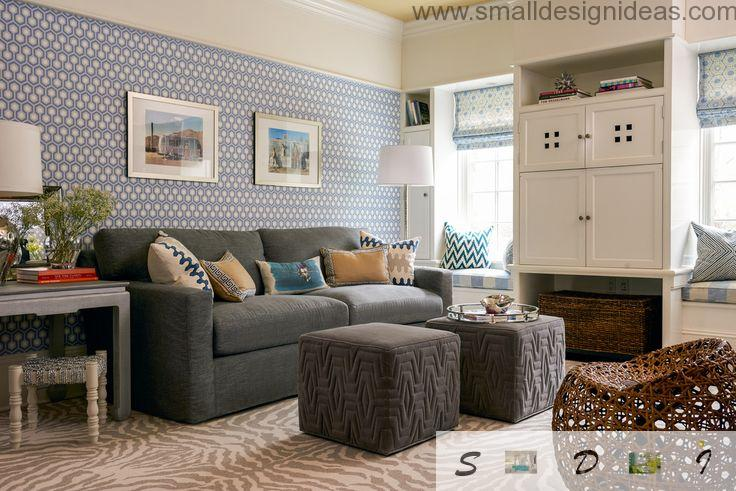 Lots of soft upholstered furniture and cushions in contrasting modern living room interior
