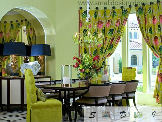 Unusual green color for ecostyle in the dining room