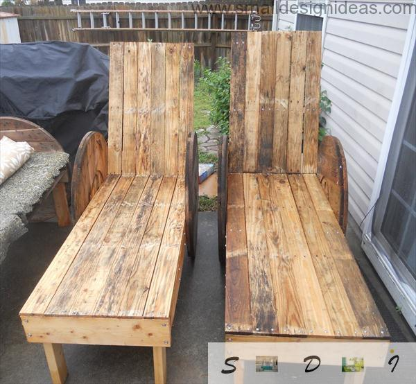 Funny wooden sunbeds from pallet
