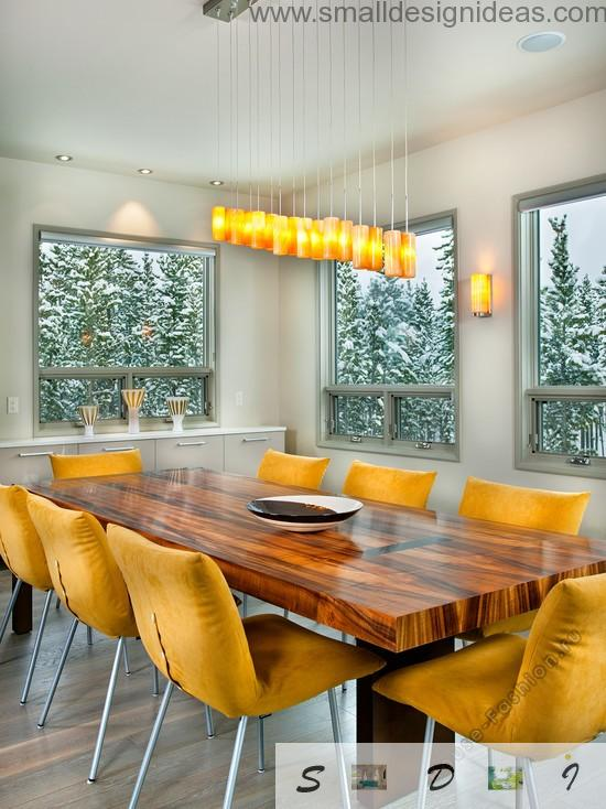 Yellow wooden mix in the colors of the dining room