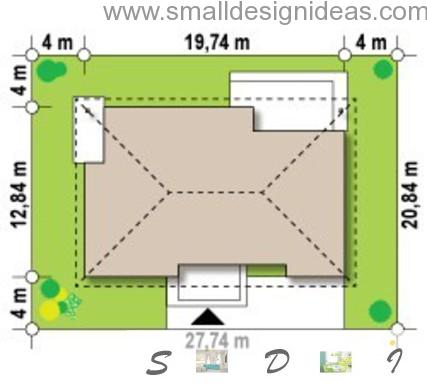 Location of the 4 bedroom 1 storey house on the site