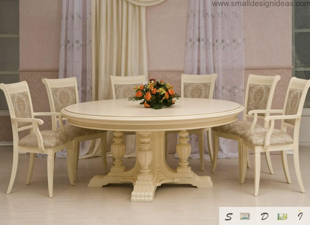 Beige colo for the dining room in the chic interior of the private house