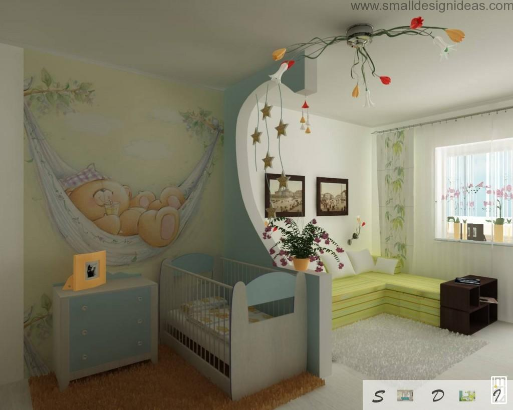 Children`s room zoning contrast thanks to wall paint and drawing