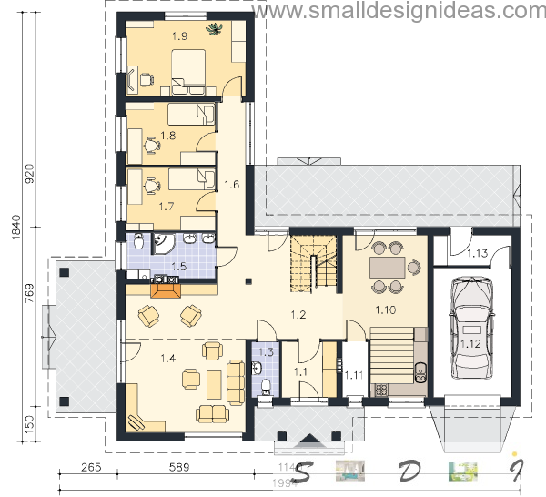1-st storey plan of 4 bedroom Italian house