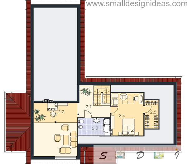 Second floor plan of Predazzo Italian rustic 4 bedroom house