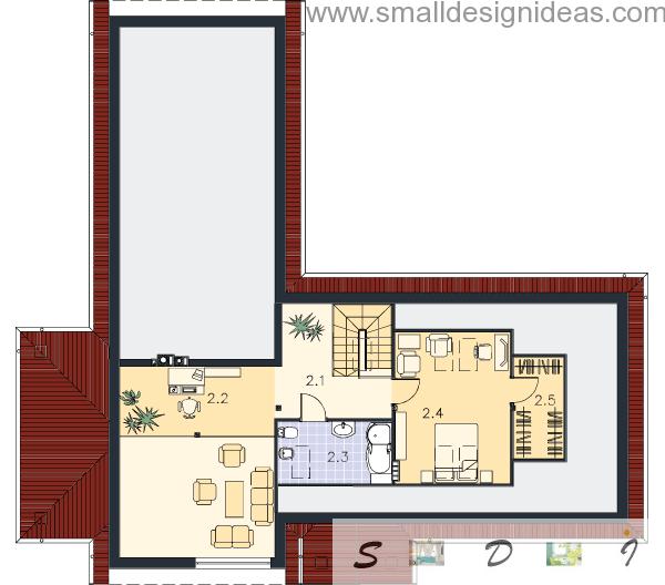 Second floor plan of Predazzo Italian rustic 4 bedroom house
