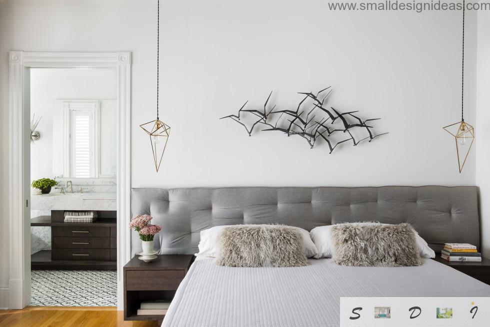 Unusual wall decoration in the form of flock of swallows