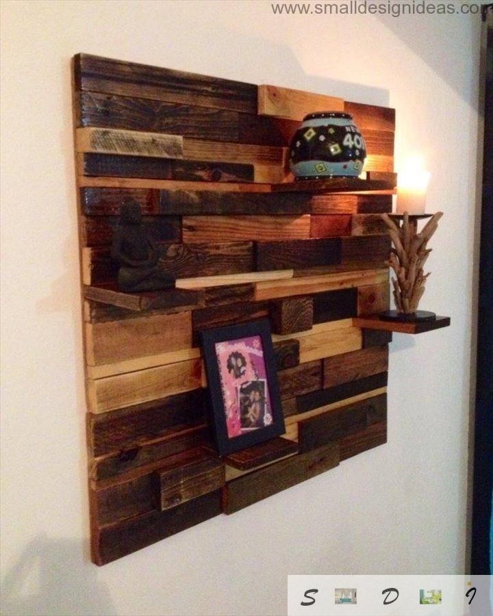 Shelves in the modern white interior with recycled building pallets