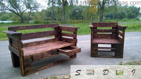 Unique outdoor impregnated and varnished wooden pallet furniture