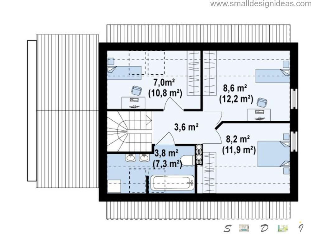 Second level plan of the 4 bedroom plan house in Scandinavian style