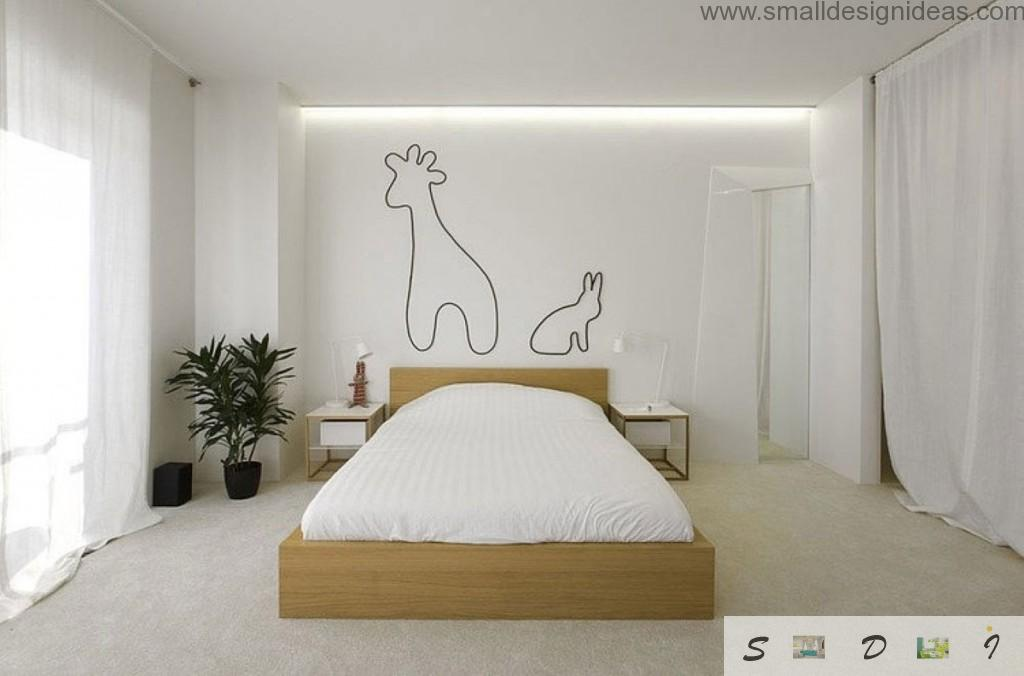 White themed bedroom with original decoration on the wall