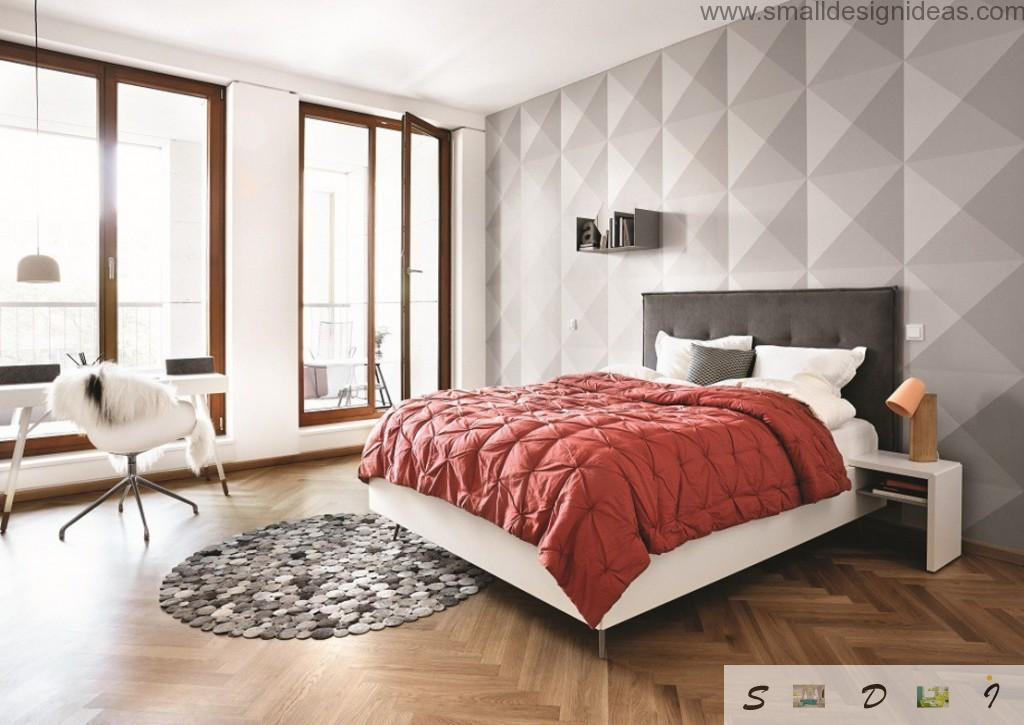 Bedroom in white with structured wall decoration with soft touch material