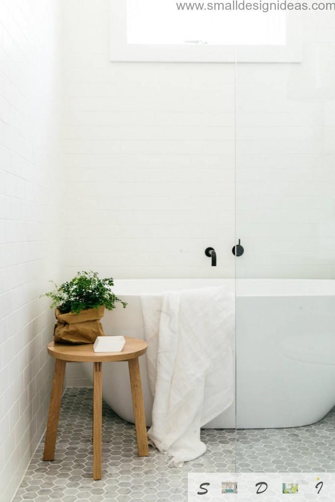 Modest design of the bright small bath