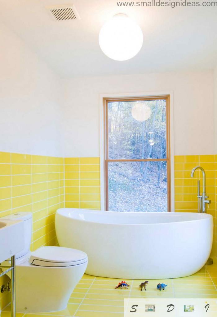 Yellow and white color combintaion in the small bath
